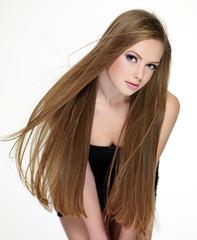 Teen with beautiful  long hair