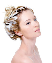 Woman dying hair isolated