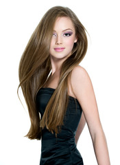 Beautiful teen girl with long straight hair