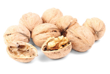 Some walnuts isolated on a white background