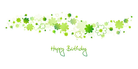 "Green Cloverleafs ""Happy Birthday"""