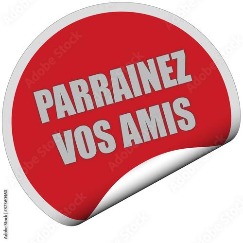 Sticker rot rund curl unten PARRAINEZ VOS AMIS