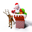Santa Claus with Elves in chimney with reindeer.