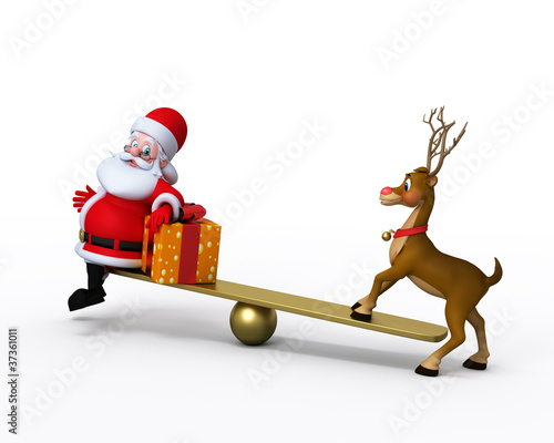 Santa Claus with Reindeer playing on the seesaw.