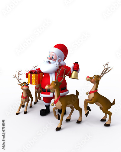 Happy Santa Claus with bell and his reindeer