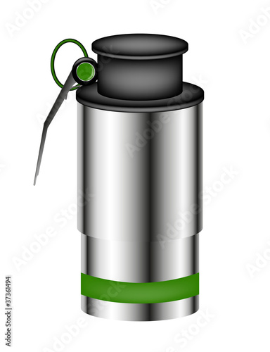 Hand grenade (smoke bomb) isolated on white background