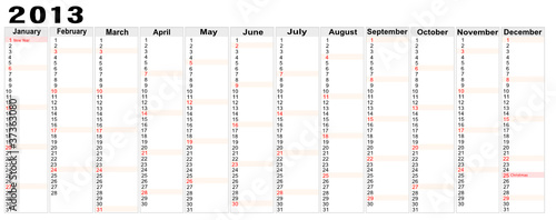 calendar 2013 with note space,vector image