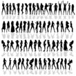 girl in various poses black vector silhouette