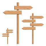 vector wooden direction arrows