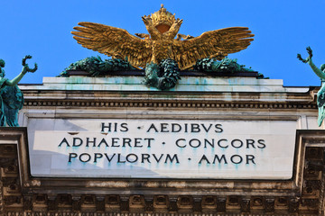 Double headed Eagle on Austrian Imperial palace (Hofburg) in vie