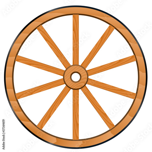 vector old Wooden Wheel
