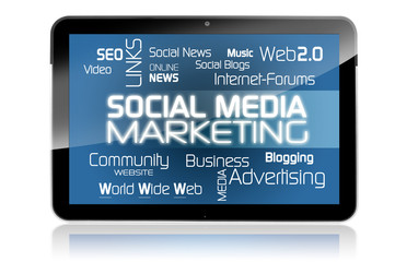 Tablet mit Social Media Marketing