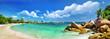 Leinwanddruck Bild - Seychelles , beach panorama