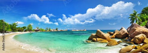 Canvas Eilanden Seychelles , beach panorama