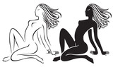 two nude girl silhouette