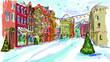 Christmas vintage card with the urban landscape and snowfall - 37368488