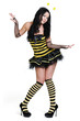Young beautiful girl in the bee costumes on white