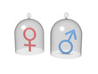 Male and female symbols under the glass caps