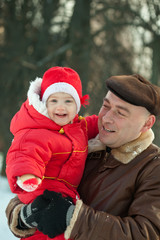 father, baby, snowtime