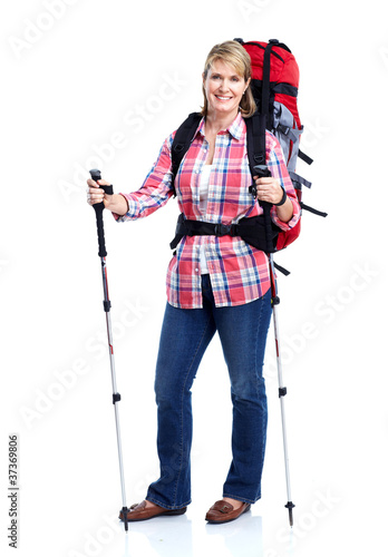 Tourist. Senior woman hiking.