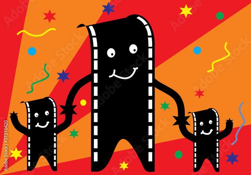 film man and family with party background