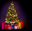 Christmas Tree with Gifts isolated on black