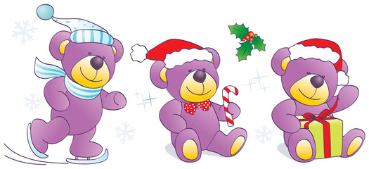 Christmas, winter Teddy bears - skates, candy, present