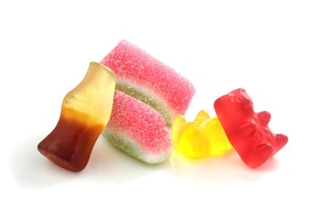 Soft candies on white background