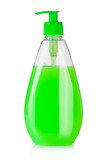 House cleaning supplies. Plastic bottle with liquid soap