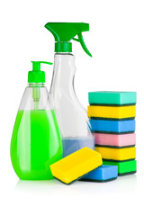 House cleaning supplies. Bottles with detergent and sponges