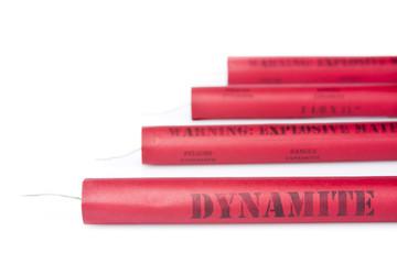 Dynamite sticks on a white background