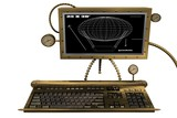 steampunk desktop workstation on white 2 poster