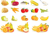 Food icons set - fruit, vegetables, meat, corn. Vector