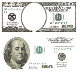 set of original detail dollars isolated on white background