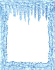 Frozen ice and icicles frame