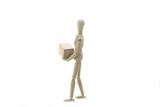 Wooden Manikin Doll Holding Box poster
