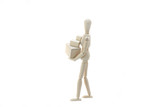 Wooden Manikin Doll Holding Many Parcels poster