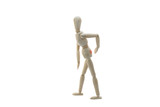 Wooden Manikin Doll Suffering From Back Pain poster