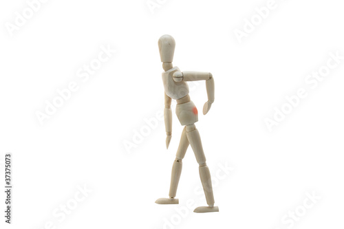 Wooden Manikin Doll Suffering From Back Pain