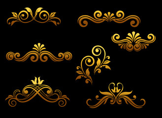 Golden vintage elements and borders