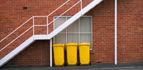 Yellow Rubbish Bins