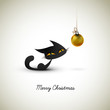 Little Cat Excited About Christmas Globe | Great Greeting for Pe