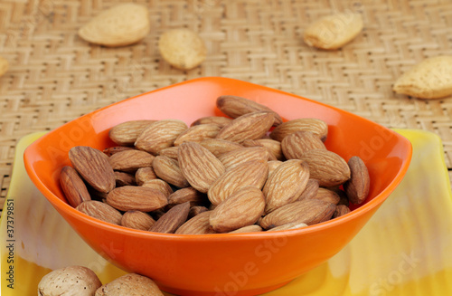 Closeup of Almonds in Orange Bowl
