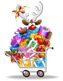 Renna in Carrello Spesa-Reindeer on Shopping Cart-Vector