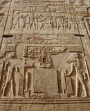 Egyptian hieroglyphics on wall in Kom Ombo temple, Egypt