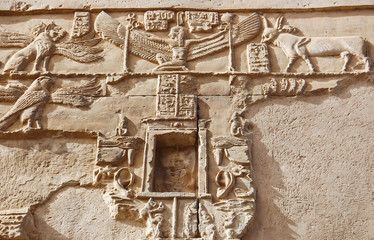 Carving of animals on wall in Kom Ombo temple, Egypt