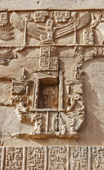 Ancient Egyptian hieroglyphics on wall in Kom Ombo temple, Egypt