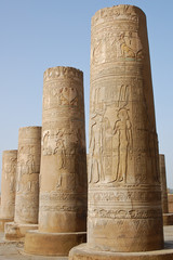 Egyptian carving on columns in Kom Ombo temple, Egypt