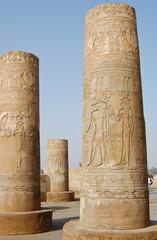 Crocodile god Sobek and Hathor goddess in Kom Ombo temple, Egypt