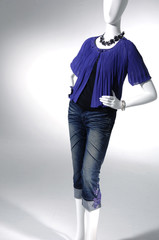 Fashion clothing mannequin in light background